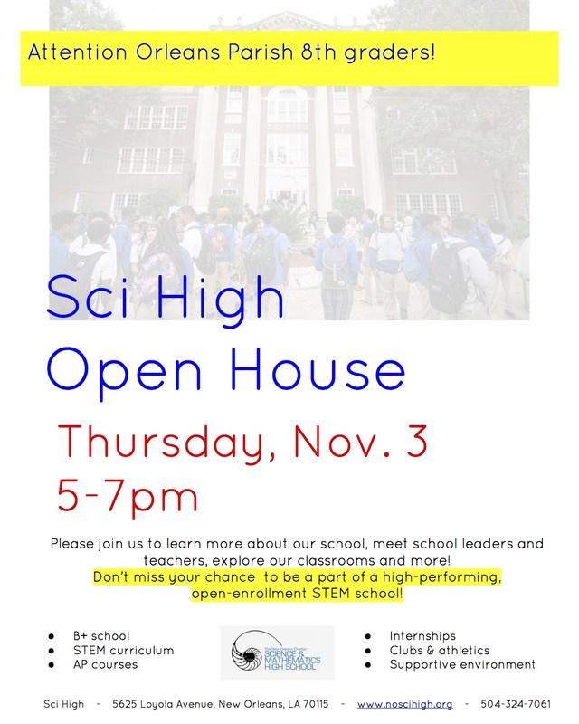 Sci High Open House November 3 Thumbnail Image