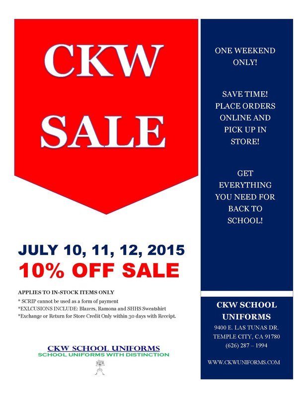 CKW Uniform 10% Off Sale - July 10, 11, & 12th