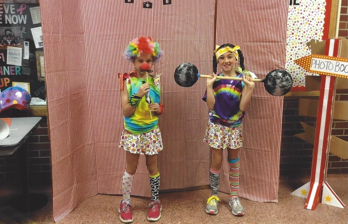 kids in costume at a circus-themed cheer camp