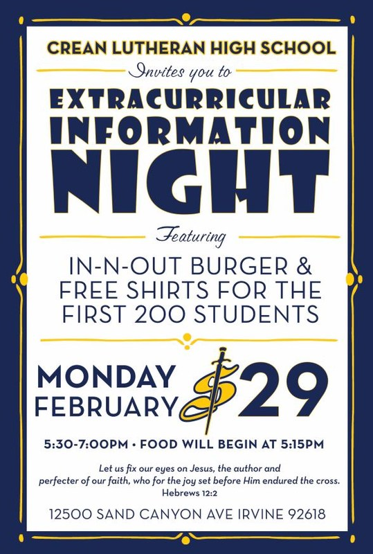 Extracurricular Information Night Feb. 29, 5:30-7pm
