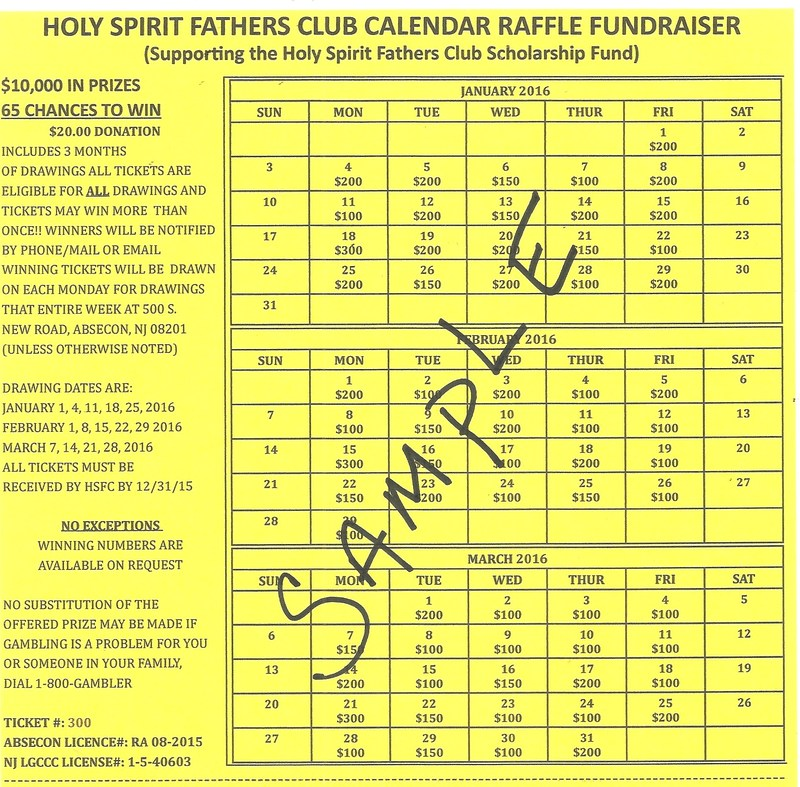FATHERS' CLUB RAFFLE TICKETS ARE SELLING OUT FAST!! DON'T WAIT TO GET YOURS AS ONLY 1,000 TICKETS WILL BE SOLD!