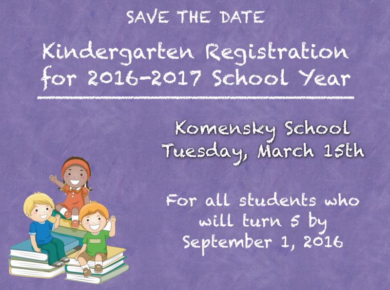 Save the Date for Kindergarten Registration