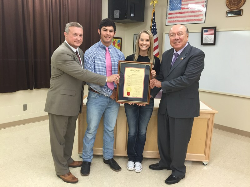 "Senator Juan ""Chuy"" Hinojosa presented a resolution to Lynn Burton for Superintendent of the Year, Region 2"