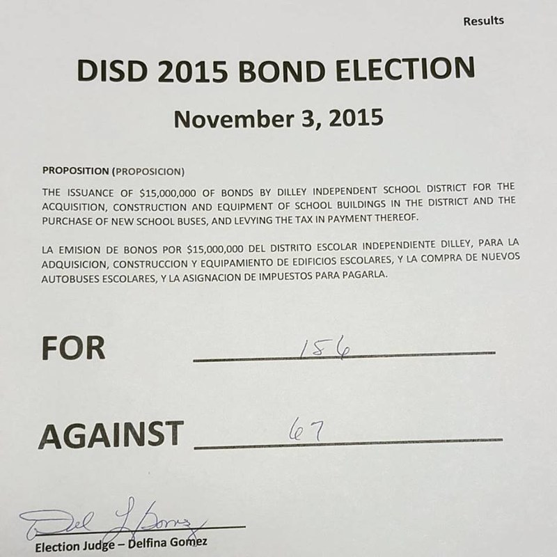2015 Bond Election Results, Thank you!