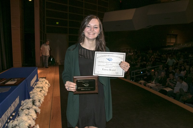 Several Weatherford High School seniors were recognized this morning at the 2015 WHS Awards Assembly in the Durant Auditorium.