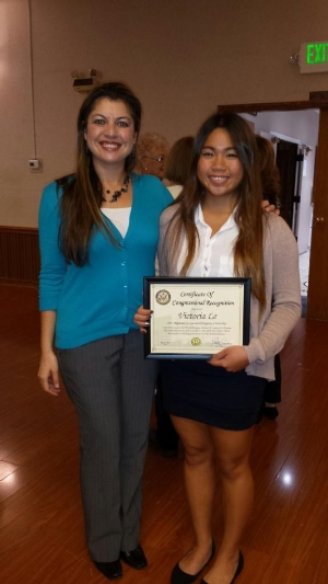 Garden Grove Chamger of Commerce-Women's DIvision CTE/ROP Scholarship winner - Victoria Le