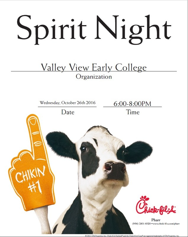 On Wednesday Oct. 26, we will be having a school spirit night at the new Chick Fil A, next to Costco. Thumbnail Image