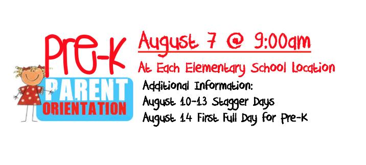 Pre-K Parent Orientation- August 7 @ 9am