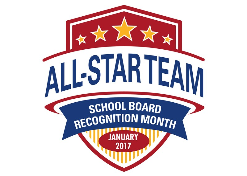 Red, white and blue shield with the words All-Star Team School Board Recognition Month January 2017