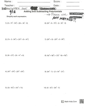 Worksheet Adding And Subtracting Polynomials Worksheet clayton valley charter high school homework due 9 12 2014 jpg adding and subtracting polynomials worksheet