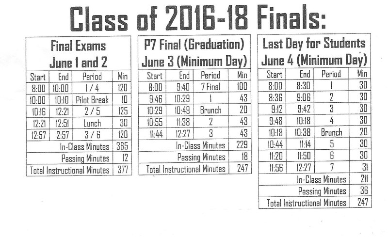 Class of 2016 - 2018 Finals Schedule