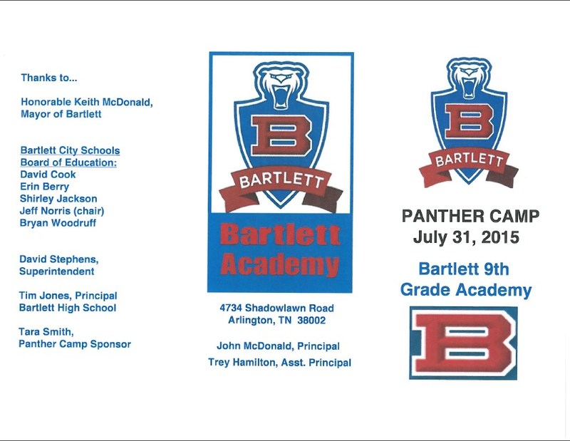 Bartlett 9th Grade Academy - Panther Camp - July 31, 2015 - 8 AM - 3 PM