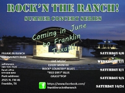"2015 ""ROCK'N THE RANCH CONCERT SERIES"" COMING TO FRANKLIN RANCH PARK - THIRD CONCERT AUGUST 1ST"