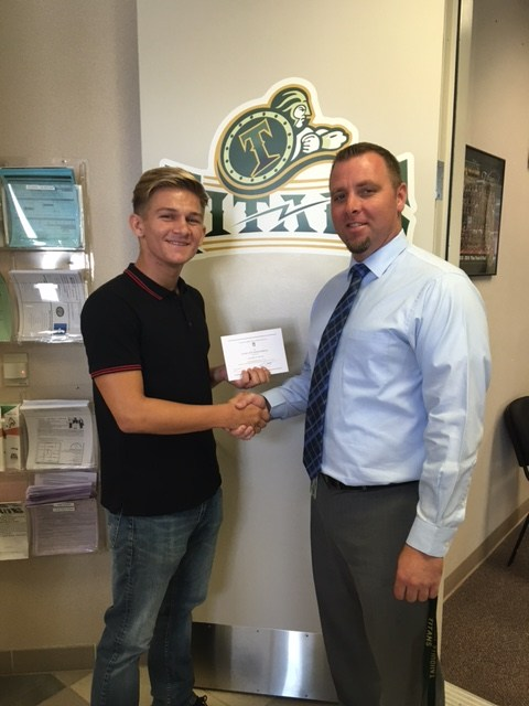 Zachary Miller and Principal Eric Dahlstrom