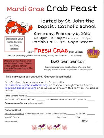 Mardi Gras Crab Feast - Saturday, 2/6/16  WE'LL HAVE FRESH CRAB!