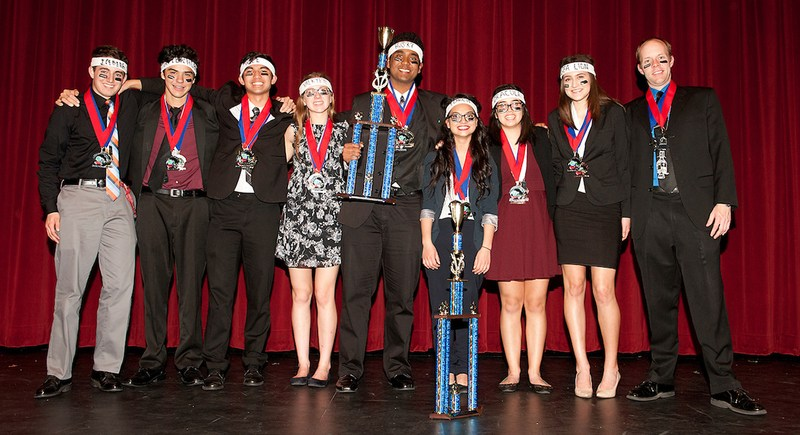 West Valley's Academic Decathlon team with their trophies.