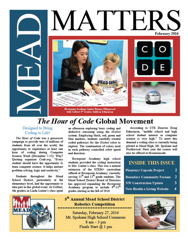 NEW: February 2016 Mead Matters Community Newsletter