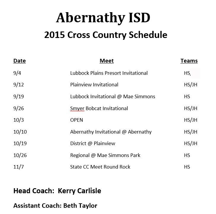 2015 Cross Country Schedule