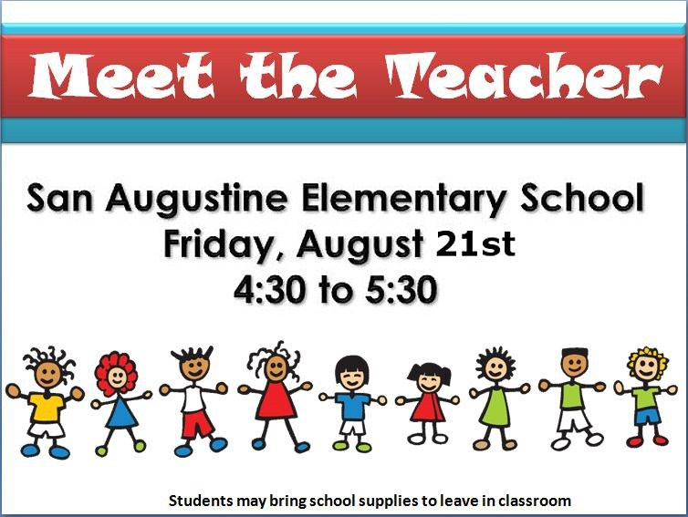 Meet the Teacher @ the Elementary School on Friday, August 21st!!