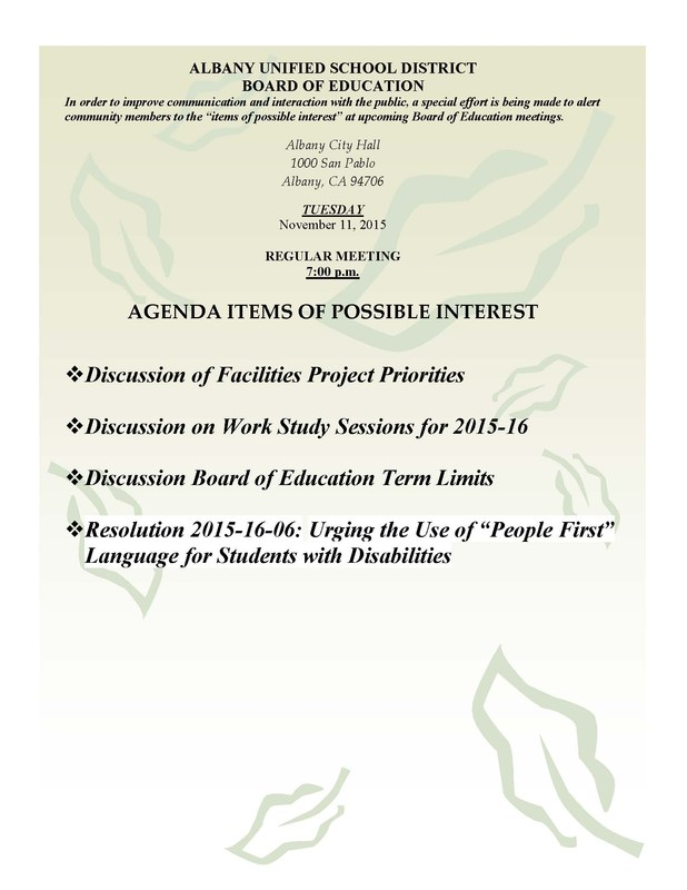 Agenda Items of Possible Interest - 11/10/15 Board of Education meeting (click for info)