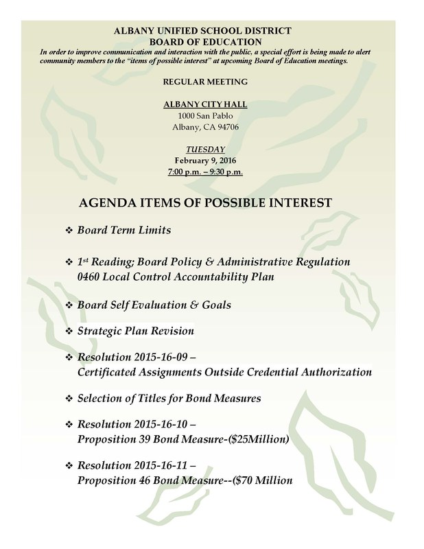Agenda Items of Possible Interest - 2/9/16 Board of Education Regular Meeting (click for info)