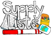 2015-2016 SCHOOL SUPPLY LISTS FOR 3RD-5TH GRADES