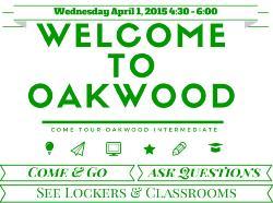 Welcome To Oakwood Wednesday April 1, 2015