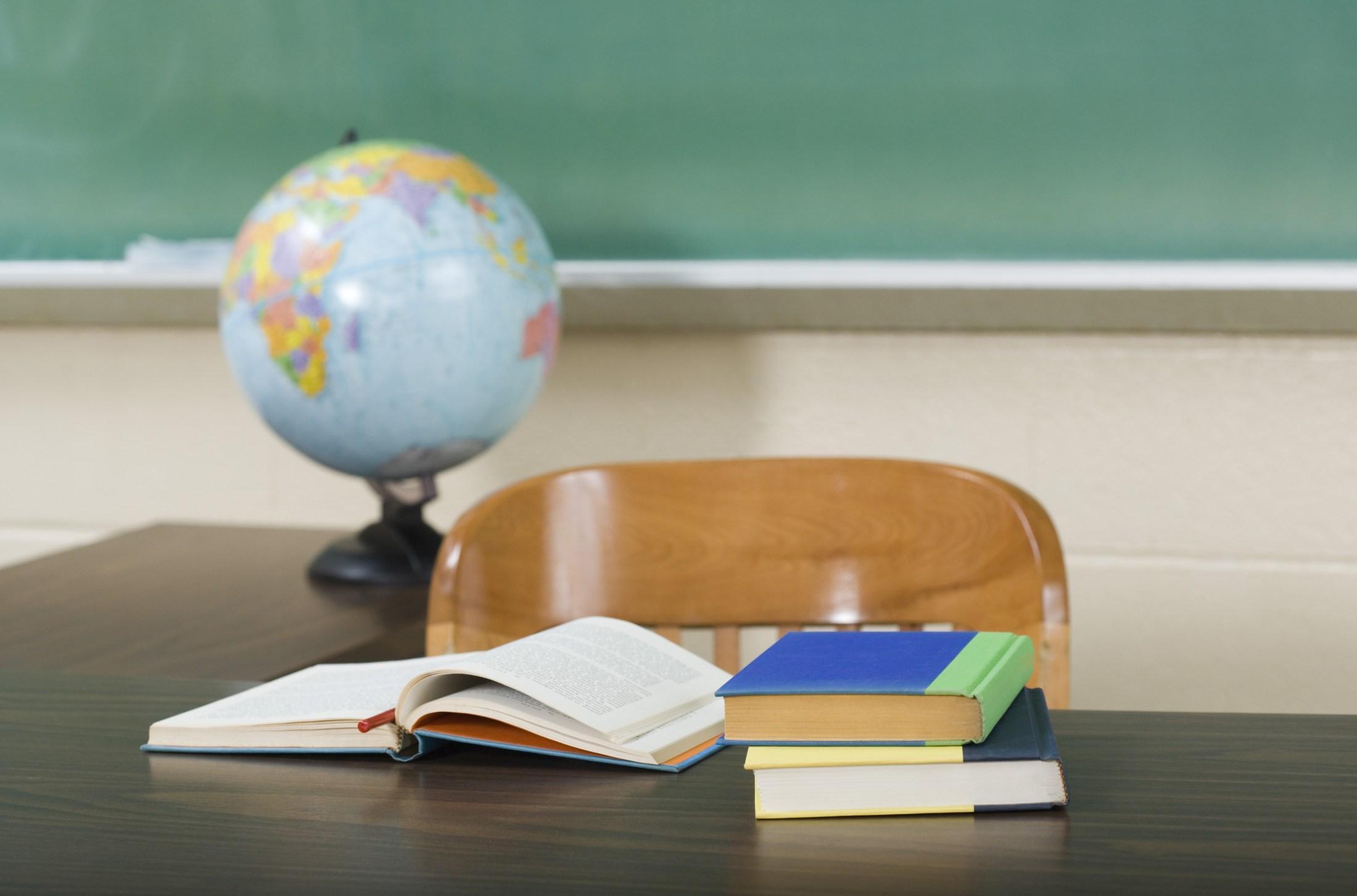 Desk with globe