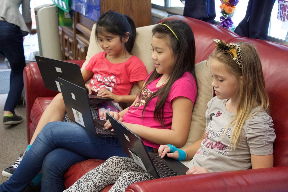students on their Chromebooks