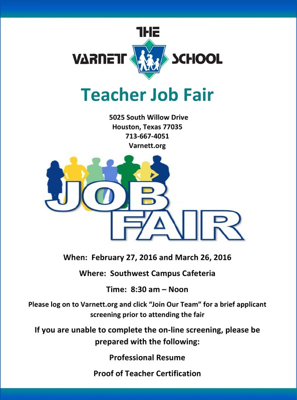 Teacher Job Fair February 27 & March 16, 2016