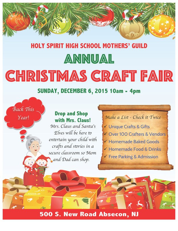 ANNUAL CHRISTMAS CRAFT SHOW AT HOLY SPIRIT HIGH SCHOOL!