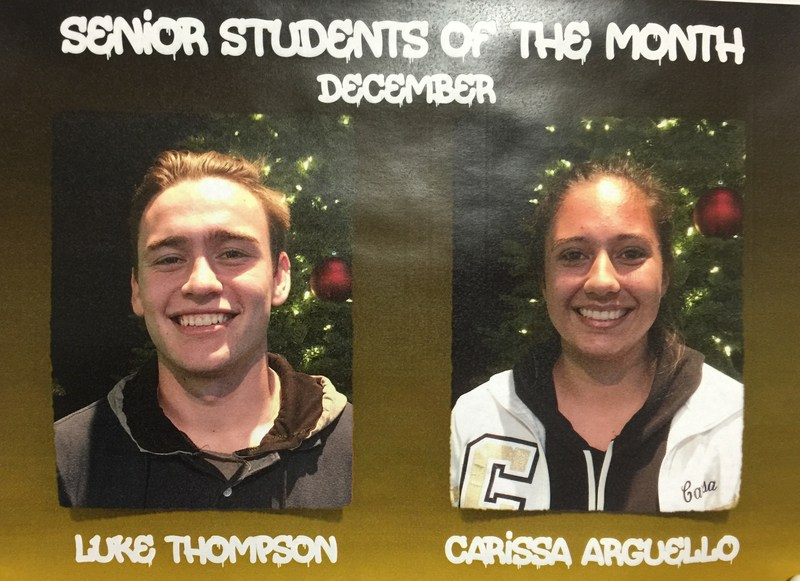 Congratulations to the Students of the Month for December!
