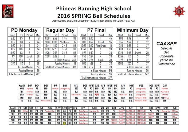 Banning High School Bell Schedule and Calendar of Bell Schedules