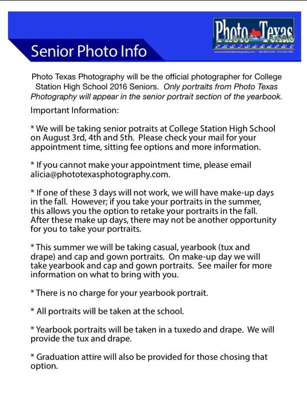Senior Photo Information