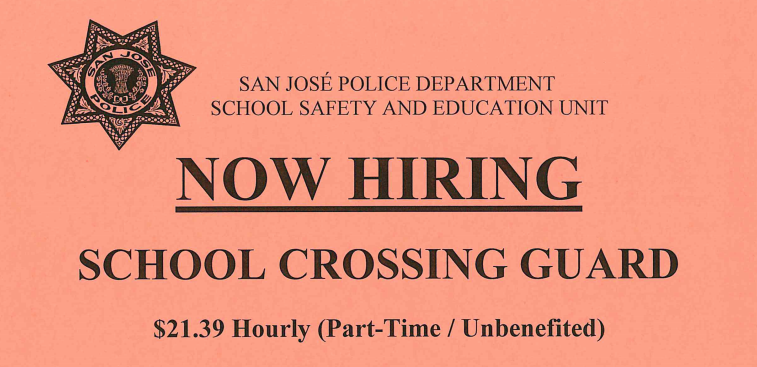 SJPD Hiring School Crossing Guards!  Click here for details. Thumbnail Image