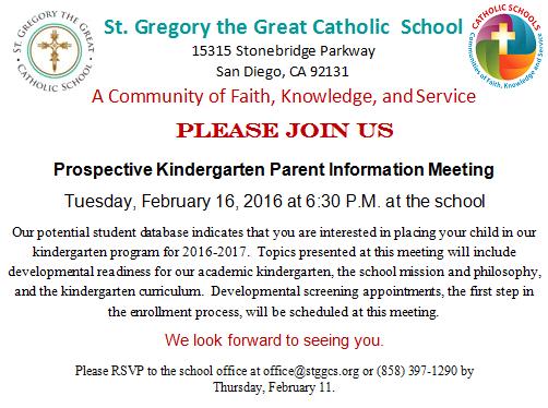 Prospective Kindergarten Parent Information Meeting