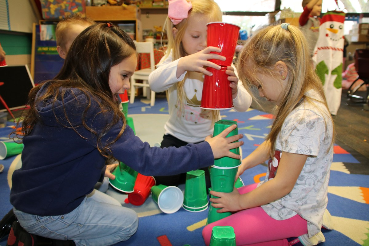 kids stacking cups