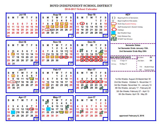 2016-2017 School Calendar Thumbnail Image