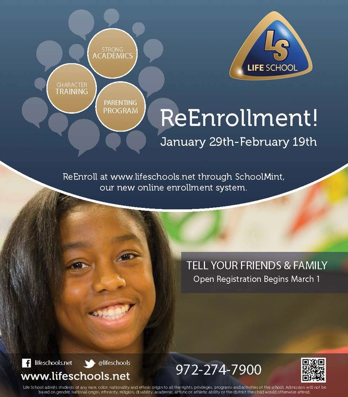 Life School Reenrollment Begins January 29th
