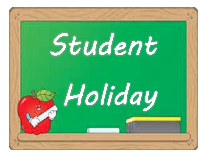 Green chalkboard with words Student Holiday featuring red apple holding stick of chalk