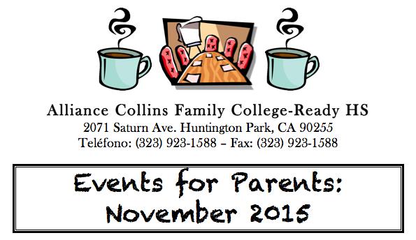 November 2015 Events for Parents