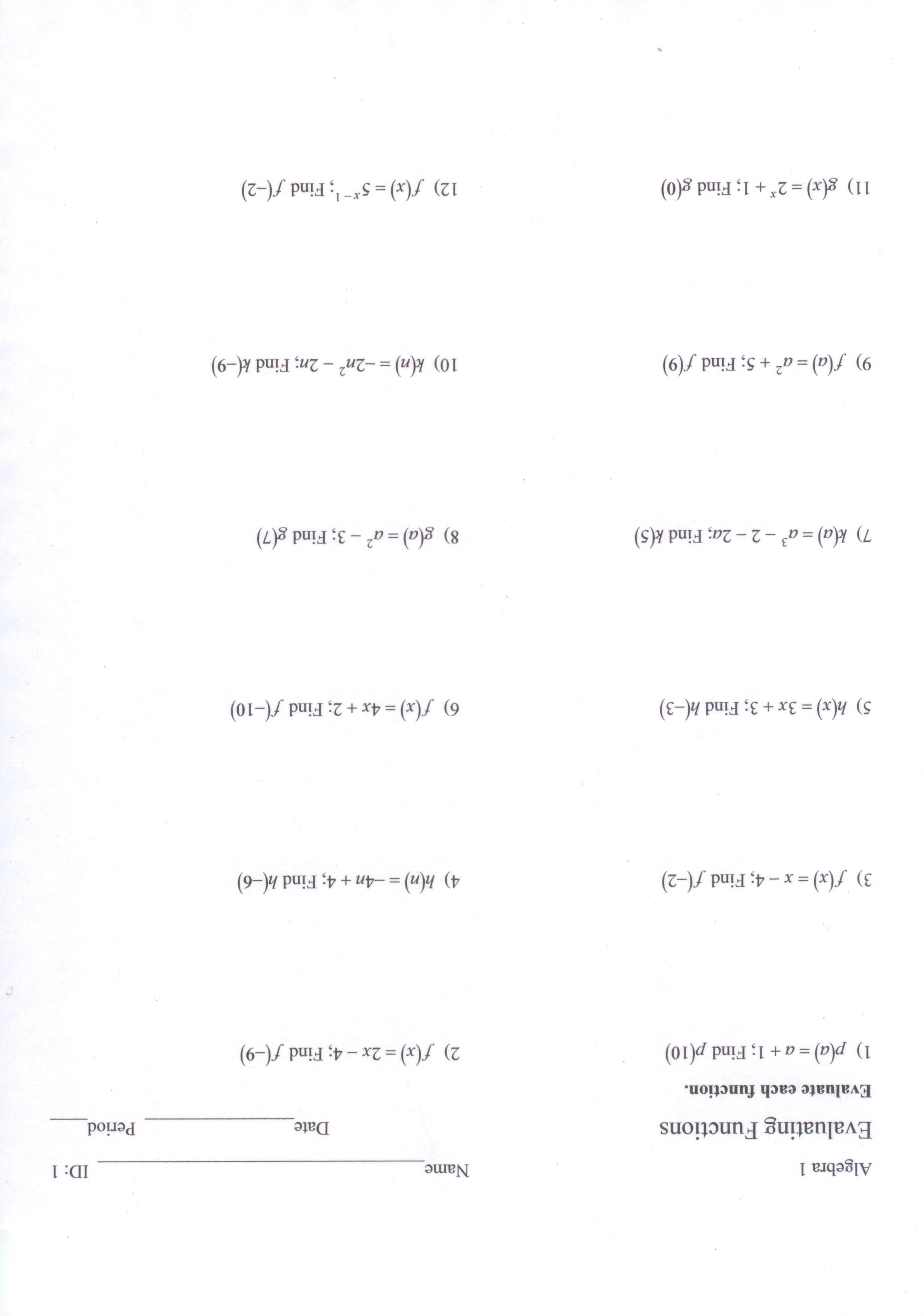 Free Worksheet Evaluating Functions Worksheet tahquitz high school evaluating functions worksheet jpg