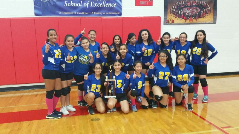 8th. Grade Volleyball B-Team District champs, 1st place at the sharyland invitational tournament. Thumbnail Image