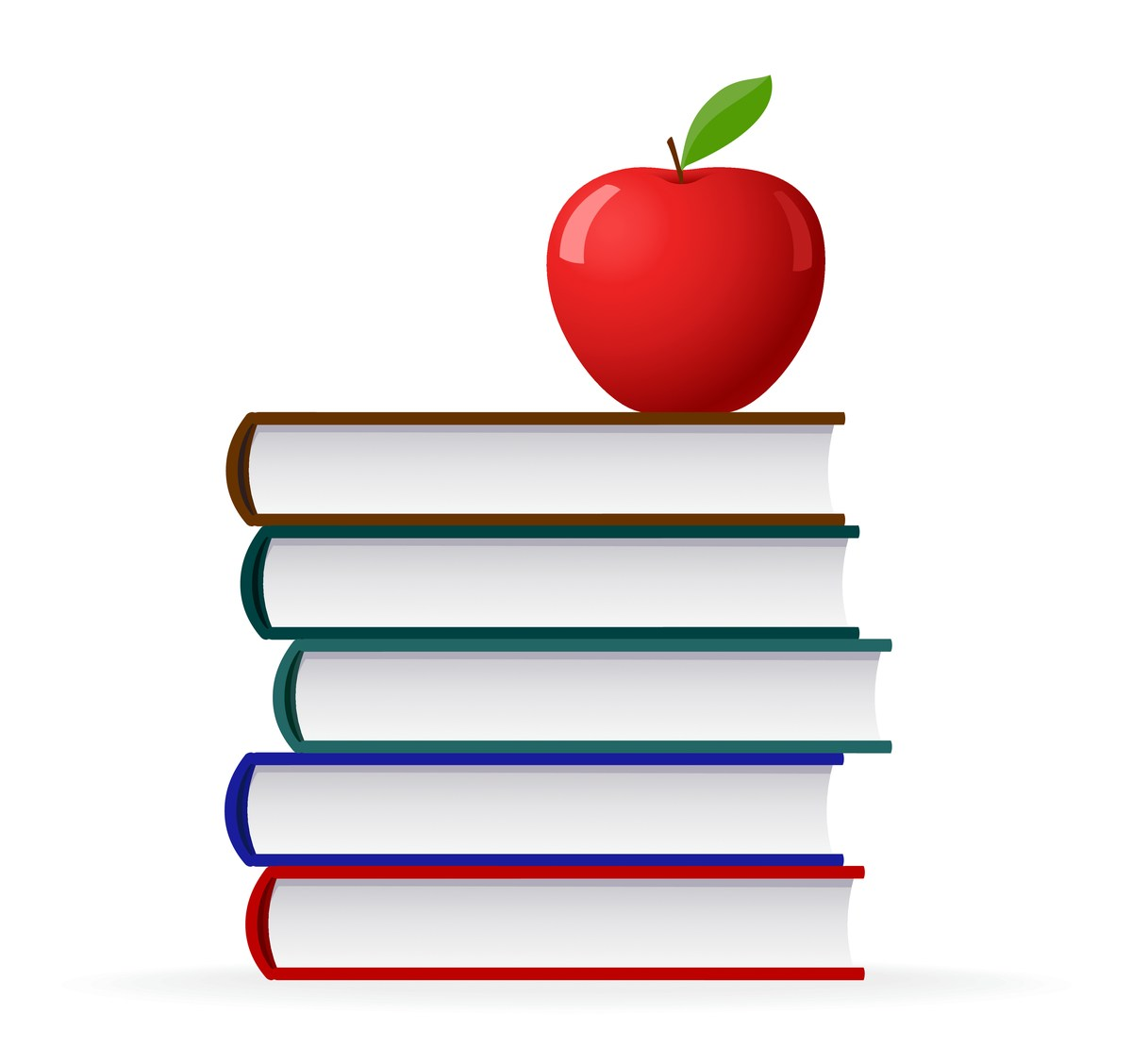 Books with apple on top