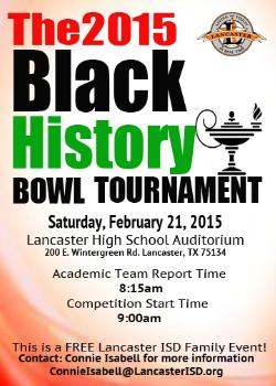 Lancaster ISD Presents the 2nd Annual My History Bowl African American Academic Tournament