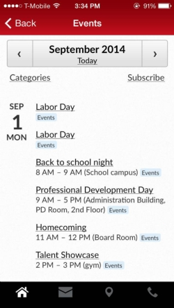 Smartphone, iPhone, functionality added to school calendar.