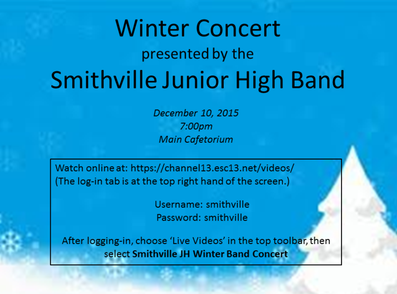 SJHS Band Winter Concert to be Livestreamed