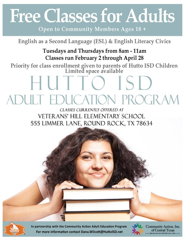 ESL & Adult Literacy to be offered by Hutto ISD