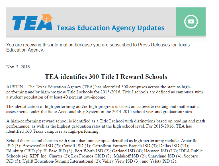 TEA Names Valley View as 1 of 19 Districts  to have High Performing Schools Thumbnail Image