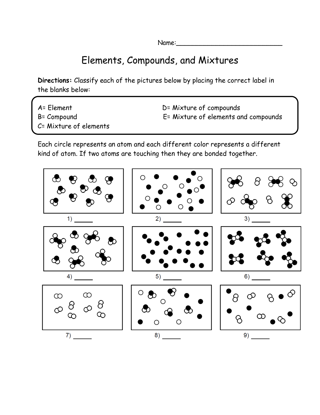 Printables Elements Compounds Mixtures Worksheet elements compounds and mixtures worksheets davezan elements